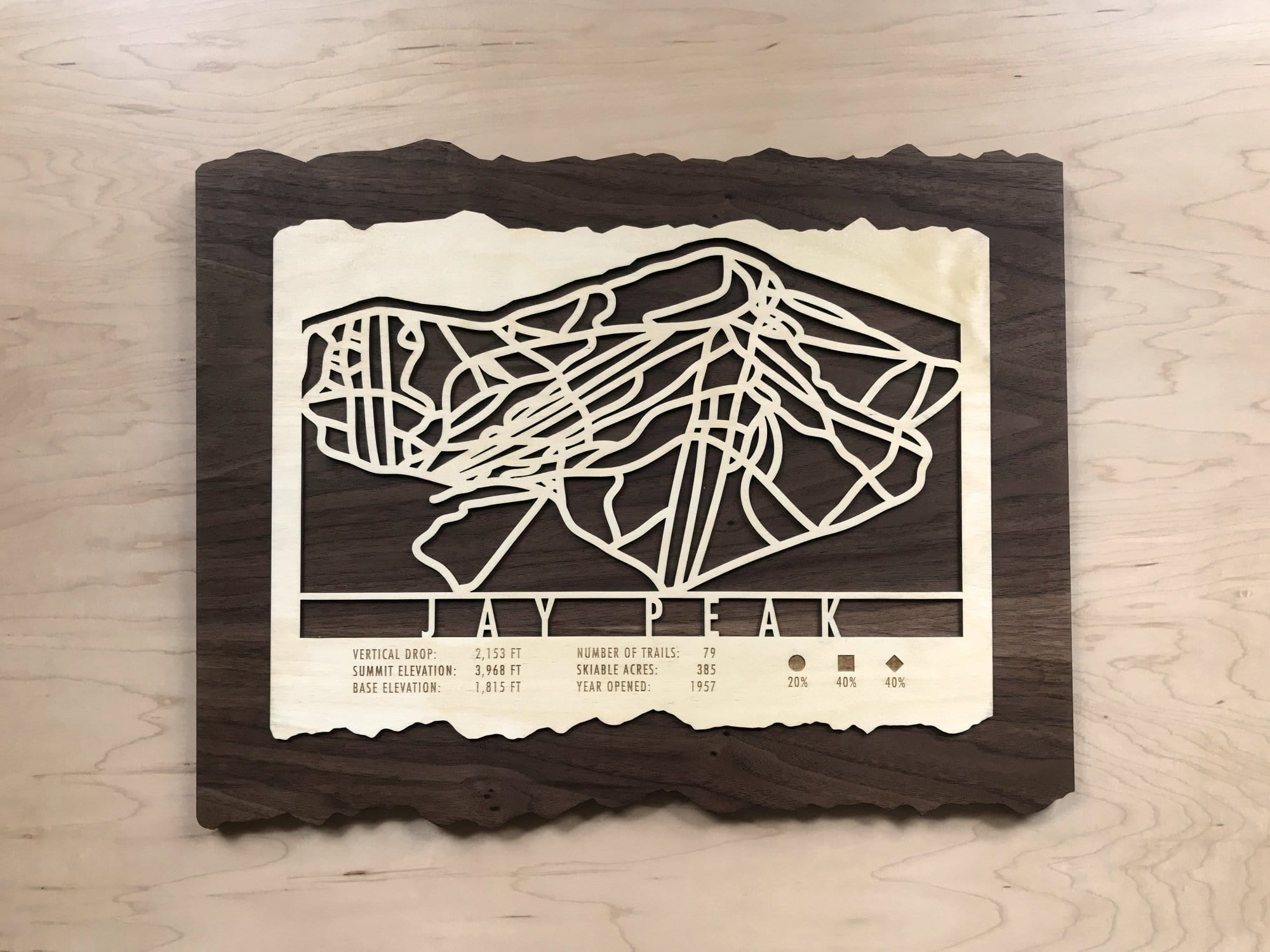 Jay Peak Ski Decor Trail Map Art - MountainCut