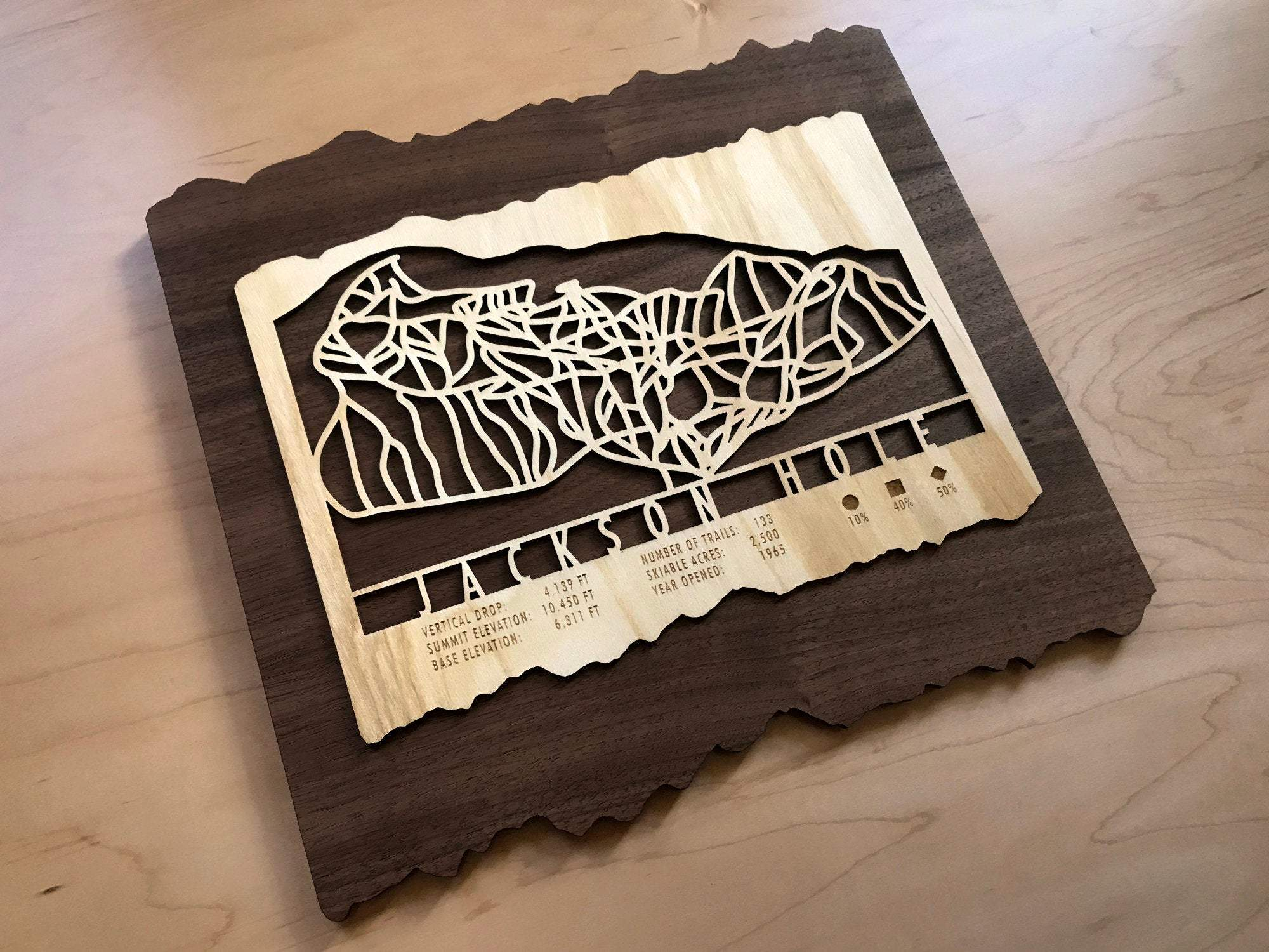 Jackson Hole Ski Decor Trail Map Art - MountainCut