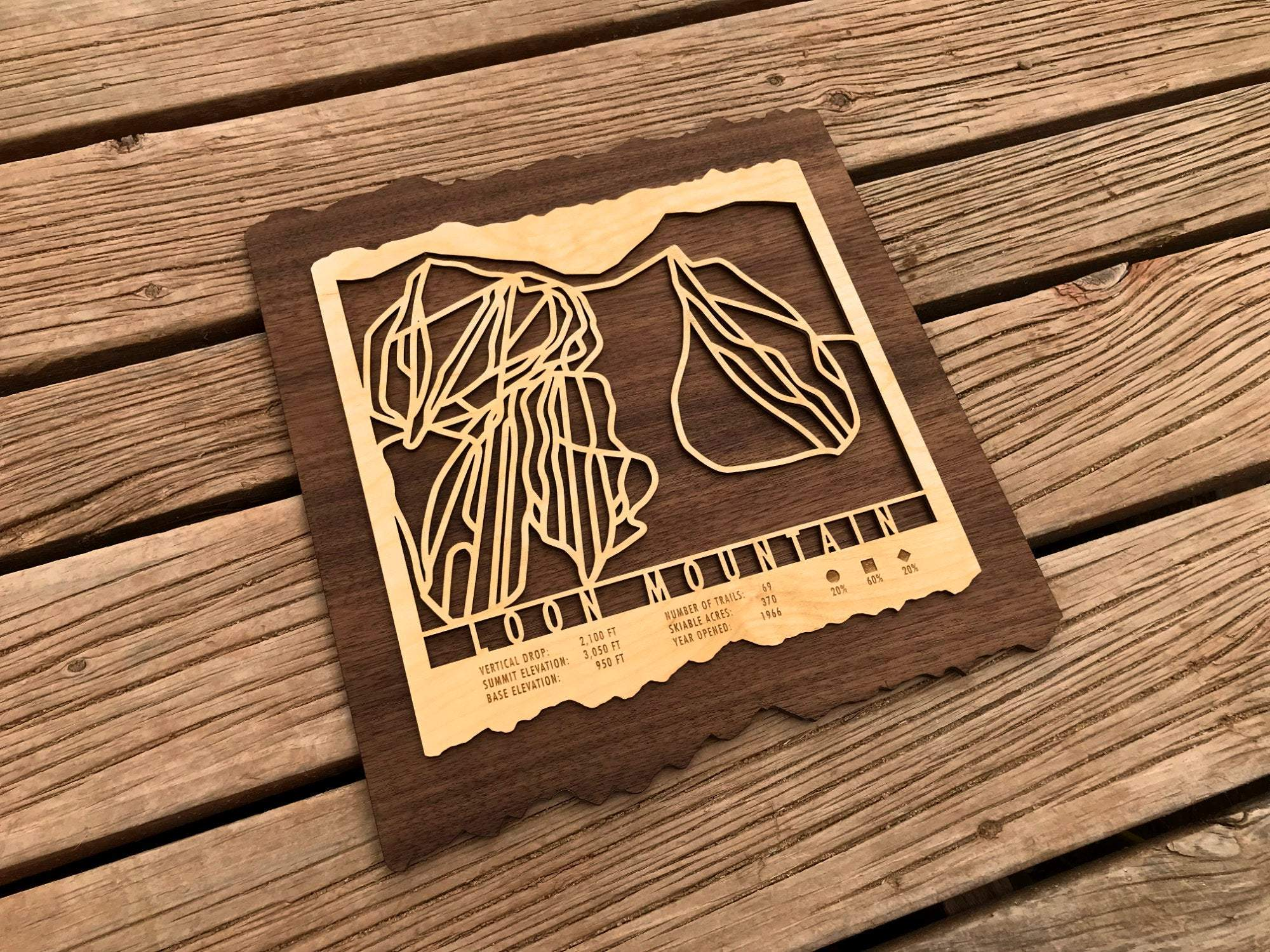 Loon Mountain Trail Map Wood Engraving Wall Art