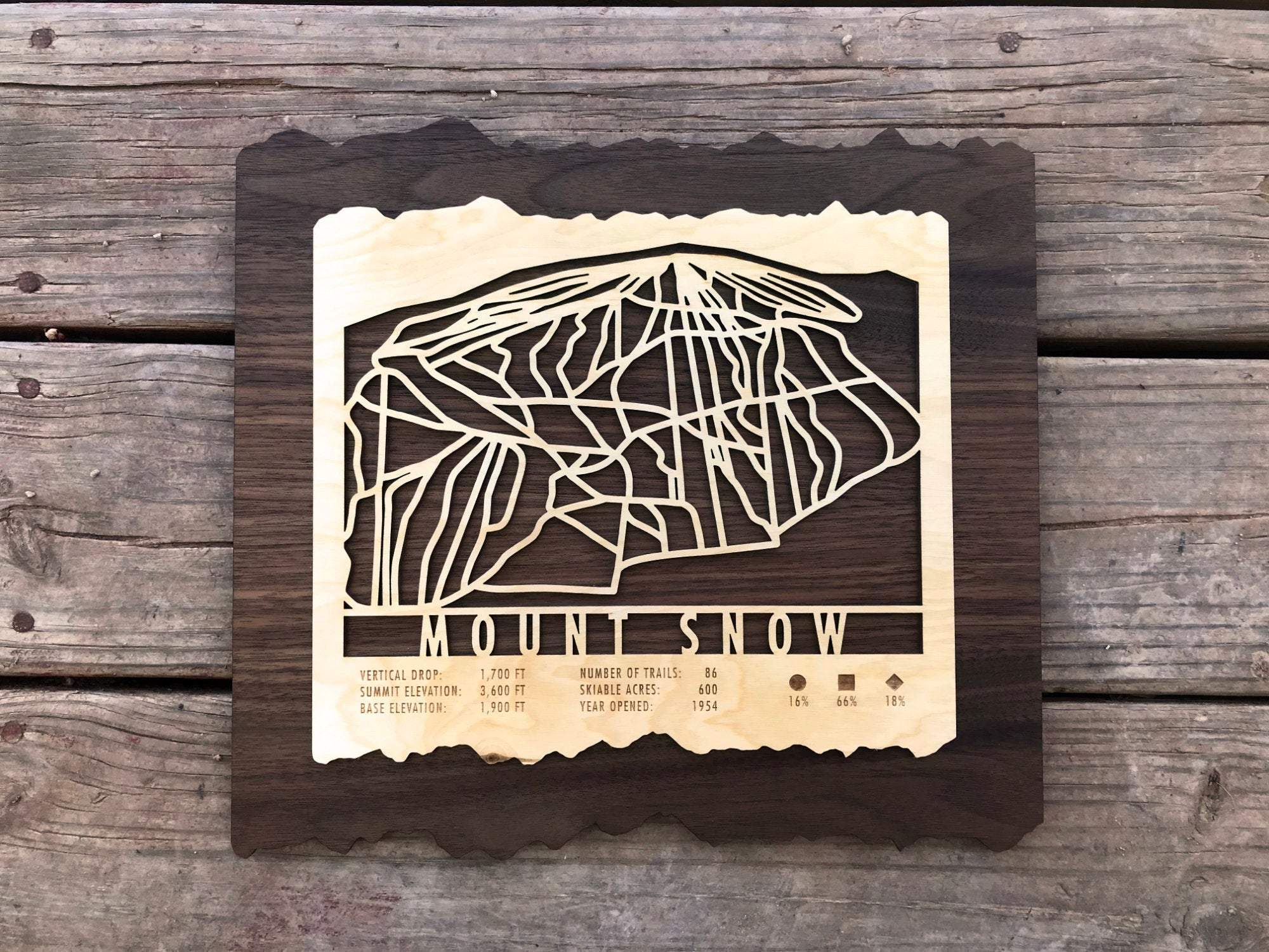 Mount Snow Ski Decor Trail Map Art - MountainCut
