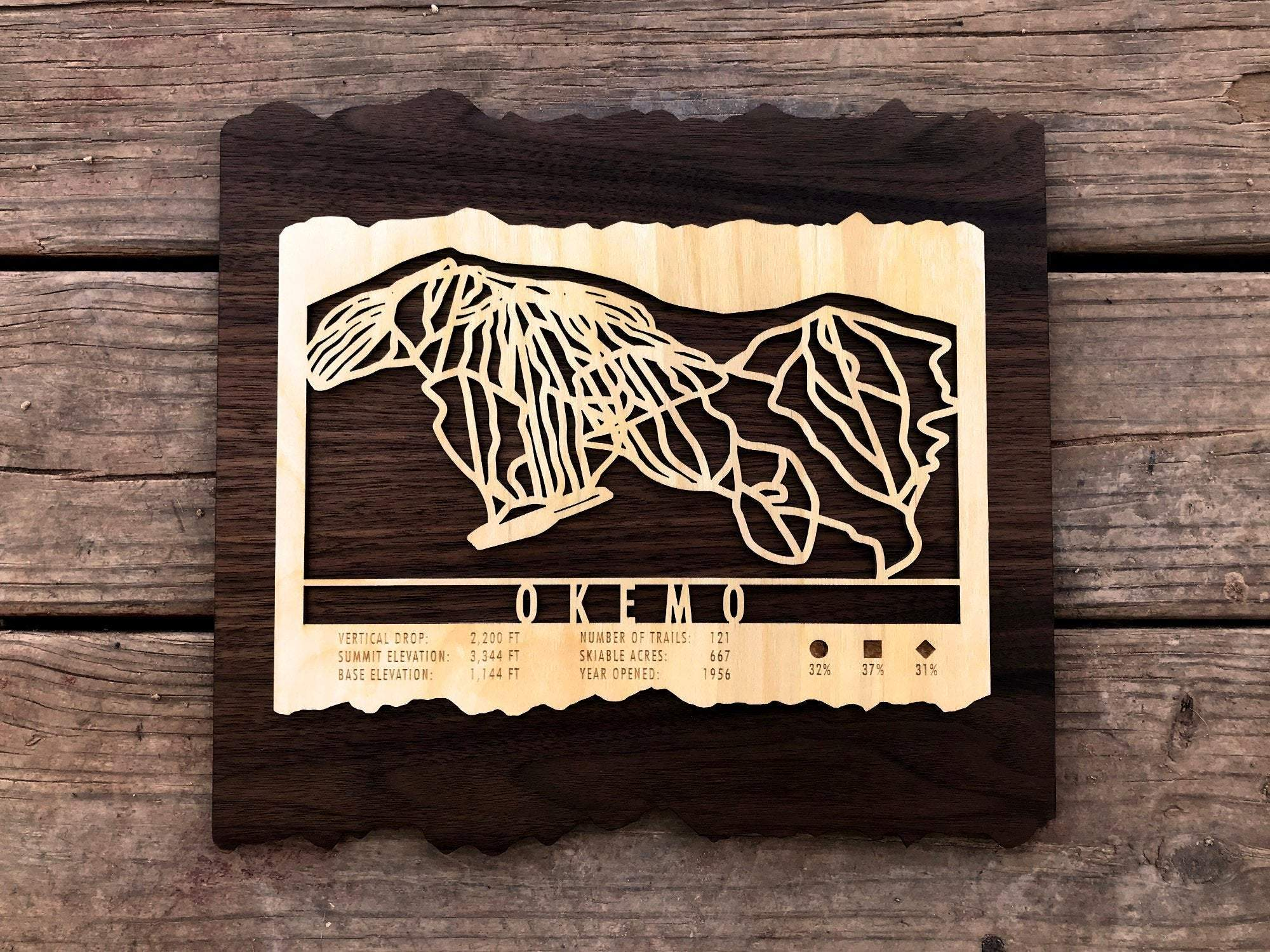 Okemo Mountain Ski Decor Trail Map Art - MountainCut