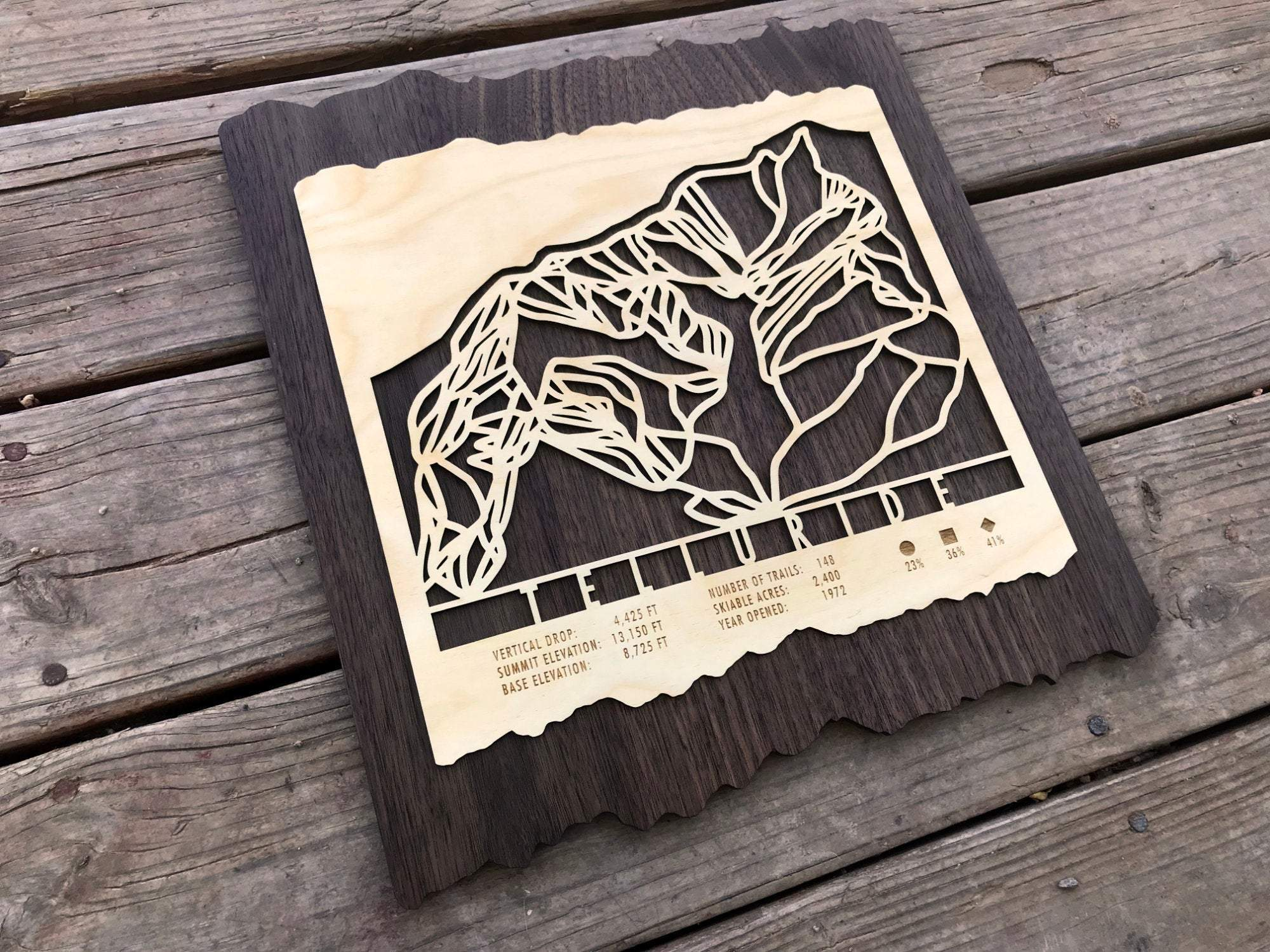 Telluride Ski Decor Trail Map Art - MountainCut