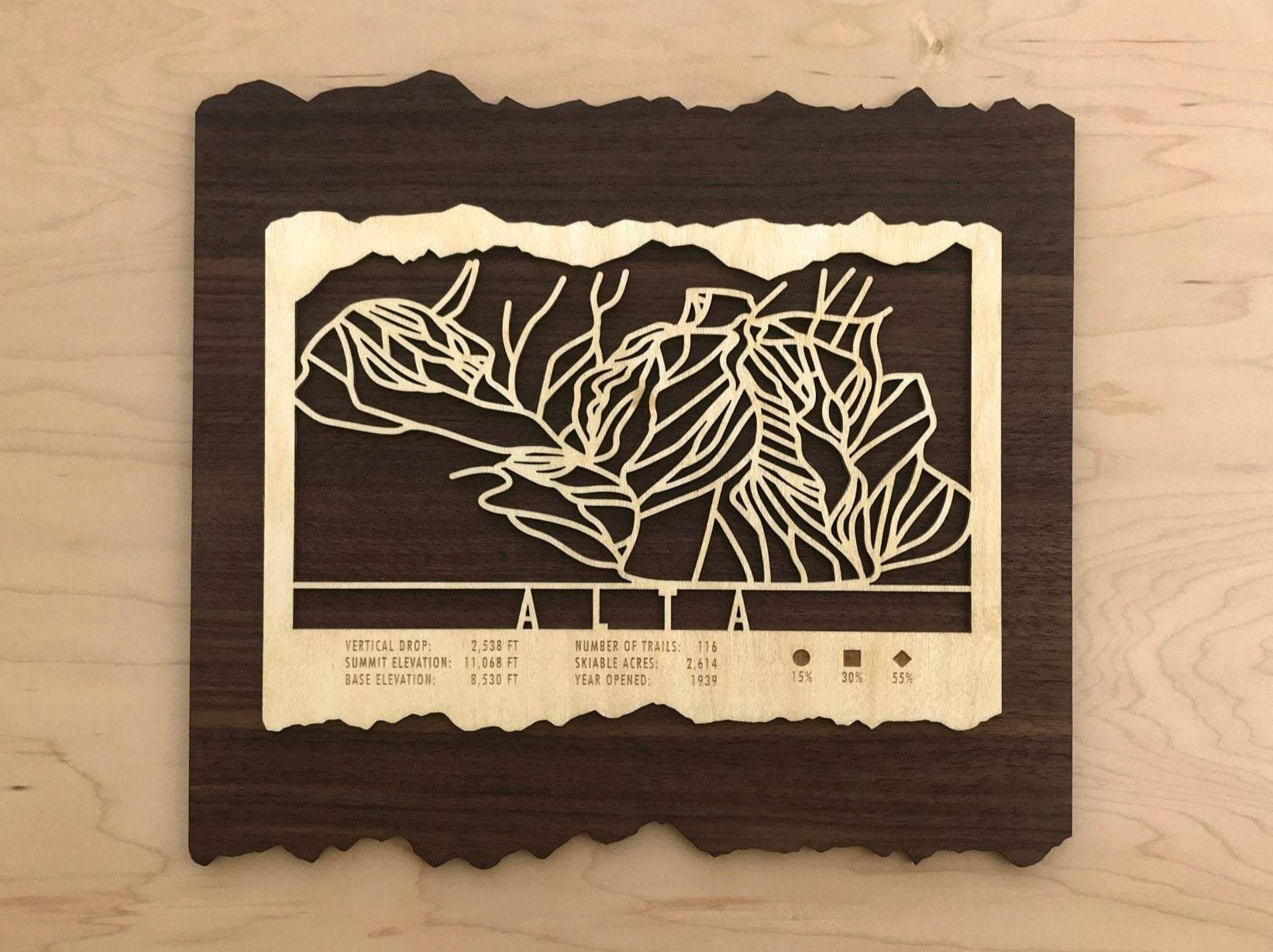Alta Ski Decor Trail Map Art - MountainCut