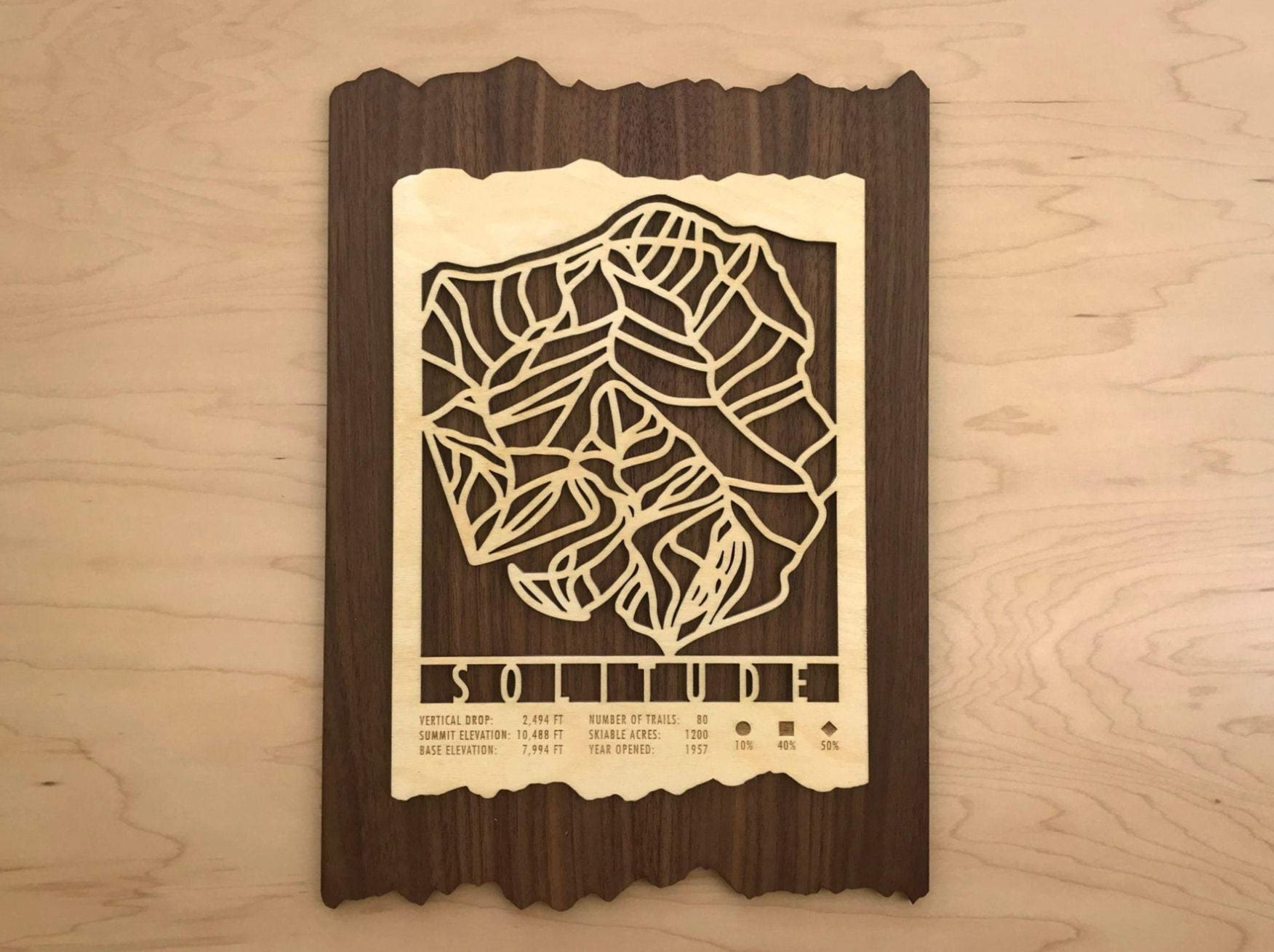 Solitude Ski Decor Trail Map Art - MountainCut