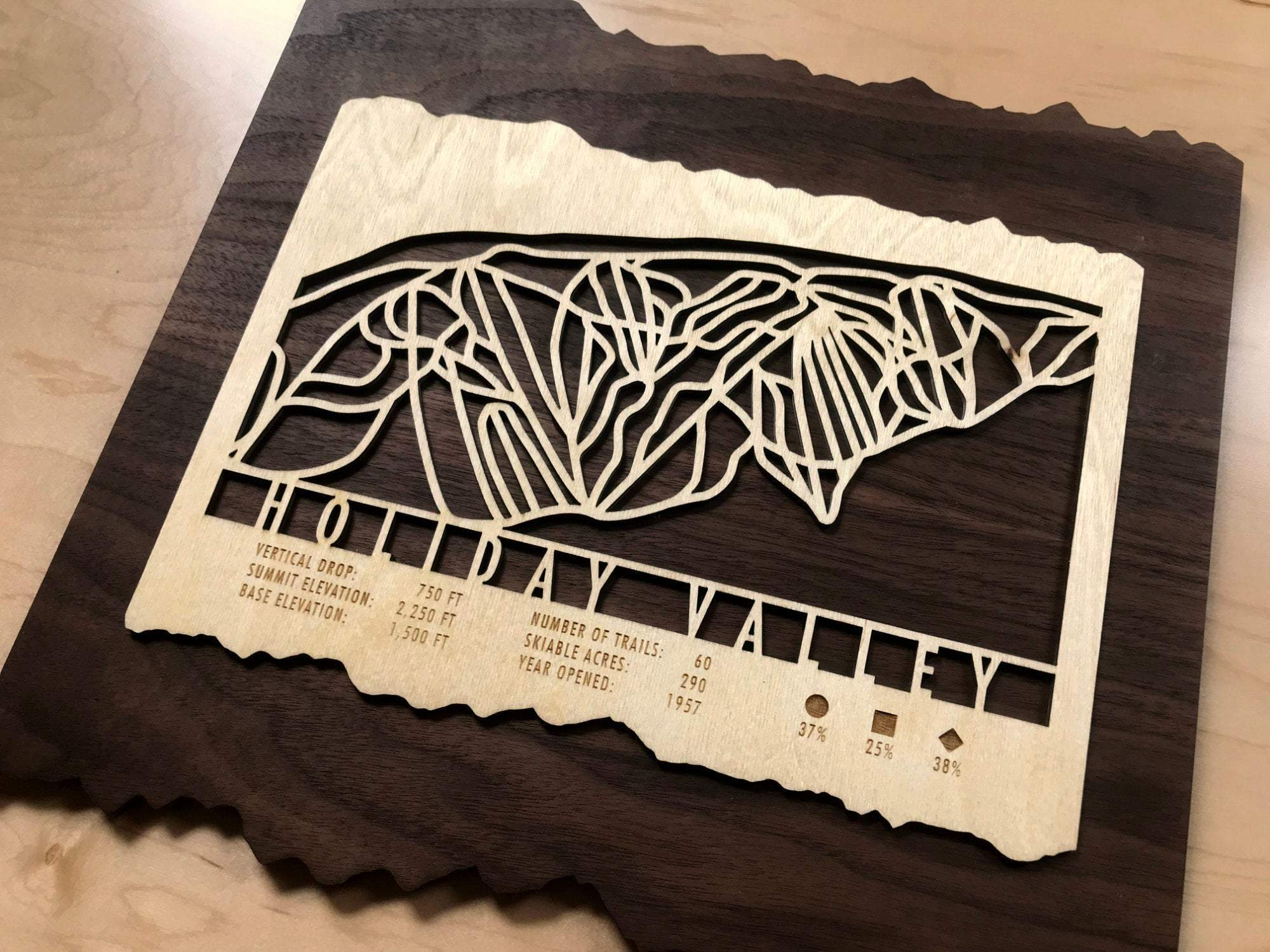 Holiday Valley Ski Decor Trail Map Art - MountainCut