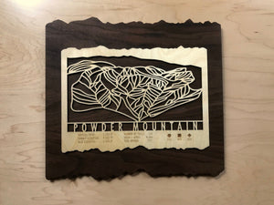 Powder Mountain Ski Decor Trail Map Art - MountainCut