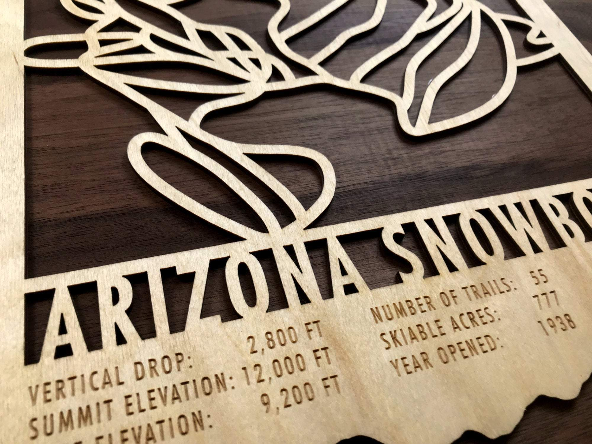 Arizona Snowbowl Ski Decor Trail Map Art - MountainCut