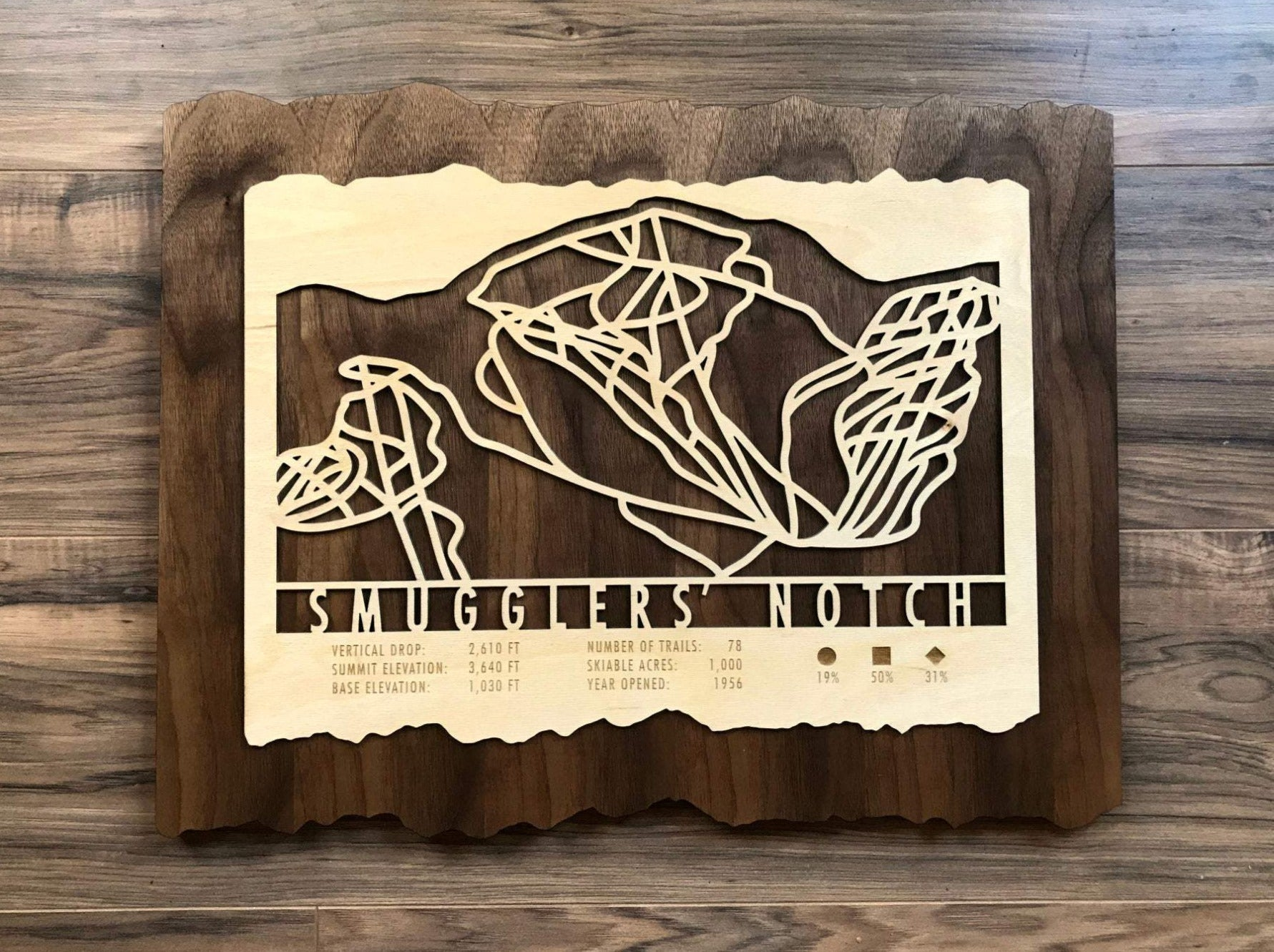 Smugglers Notch Ski Decor Trail Map Art - MountainCut