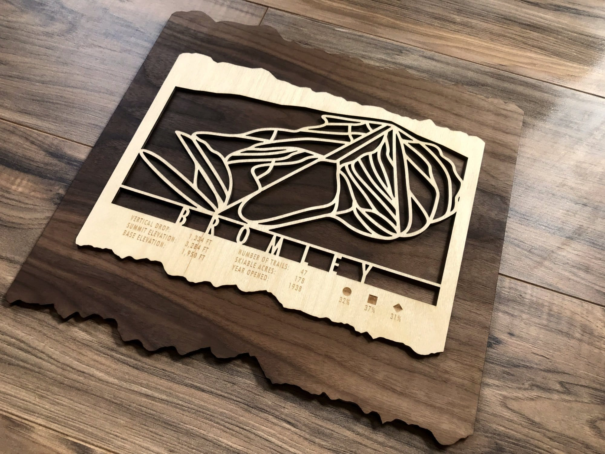 Bromley Ski Decor Trail Map Art - MountainCut