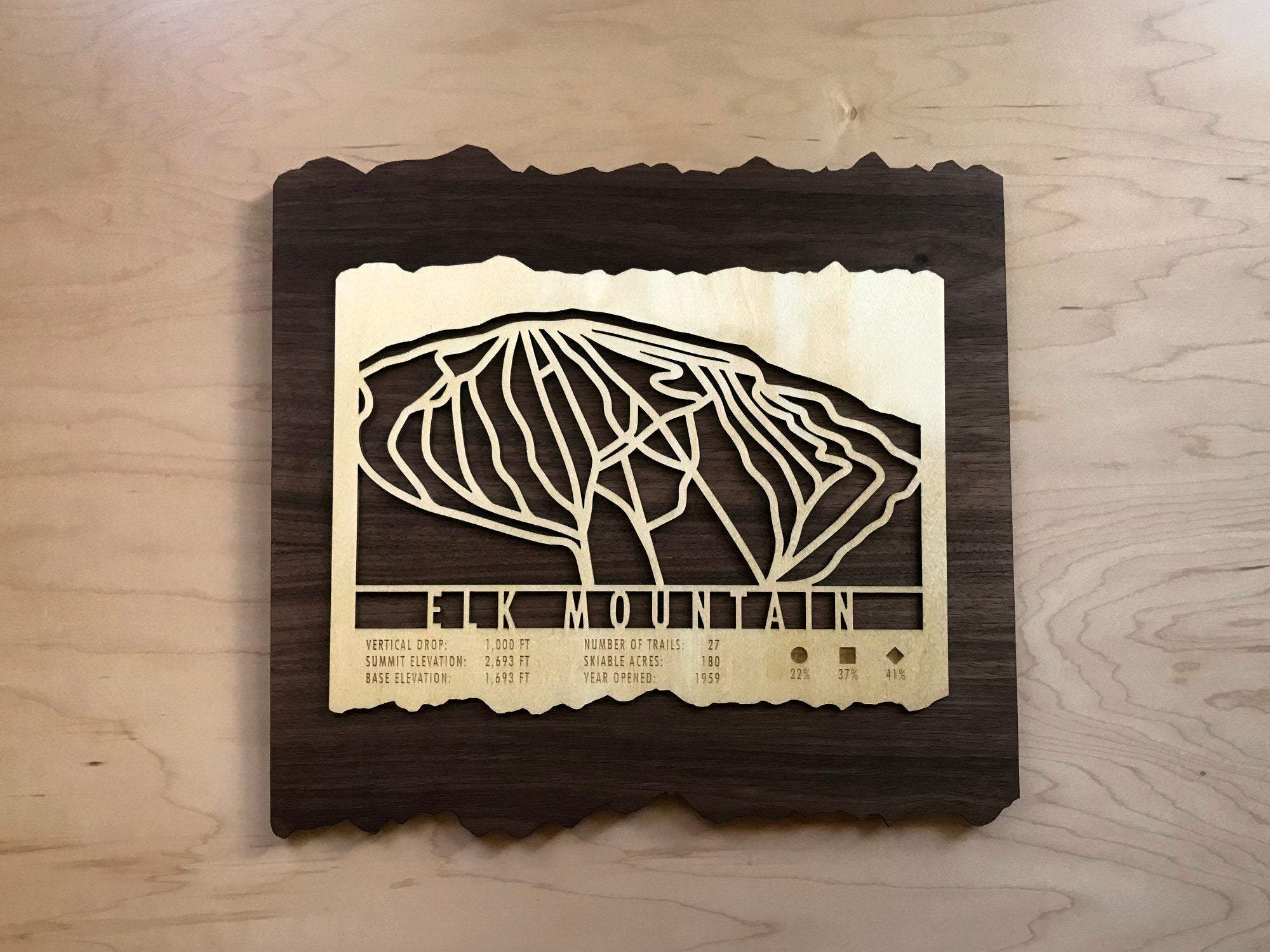 Elk Mountain Ski Decor Trail Map Art - MountainCut