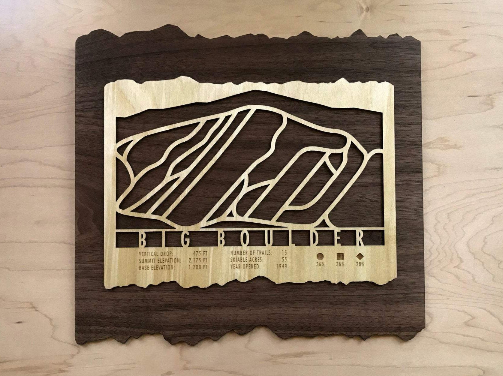 Big Boulder Ski Decor Trail Map Art - MountainCut