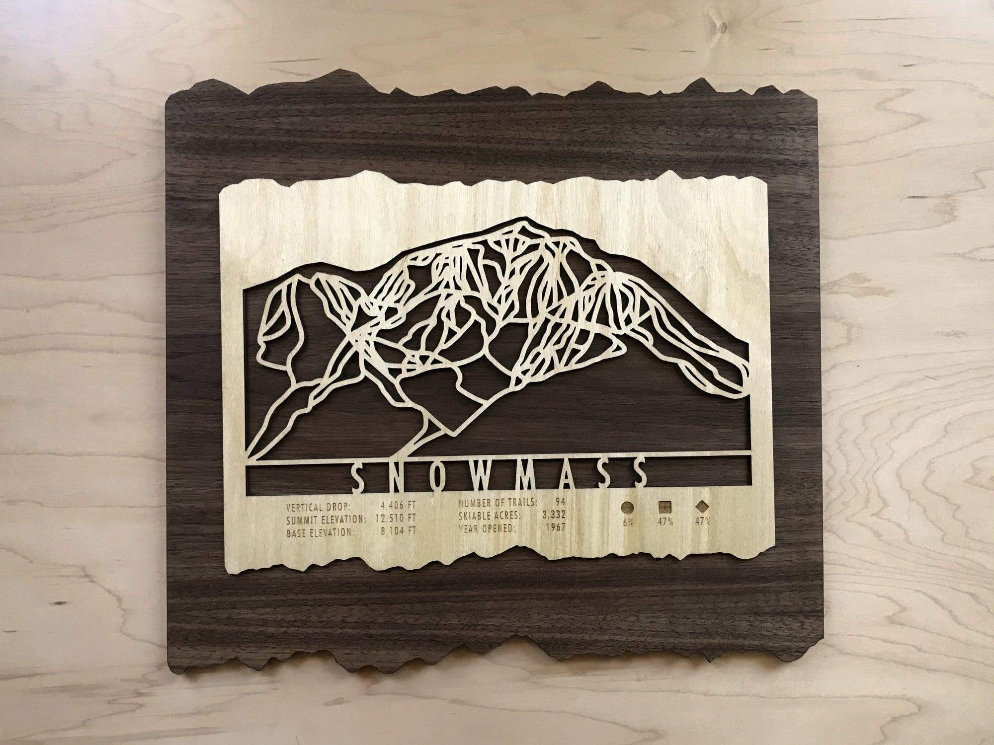Snowmass Ski Decor Trail Map Art - MountainCut