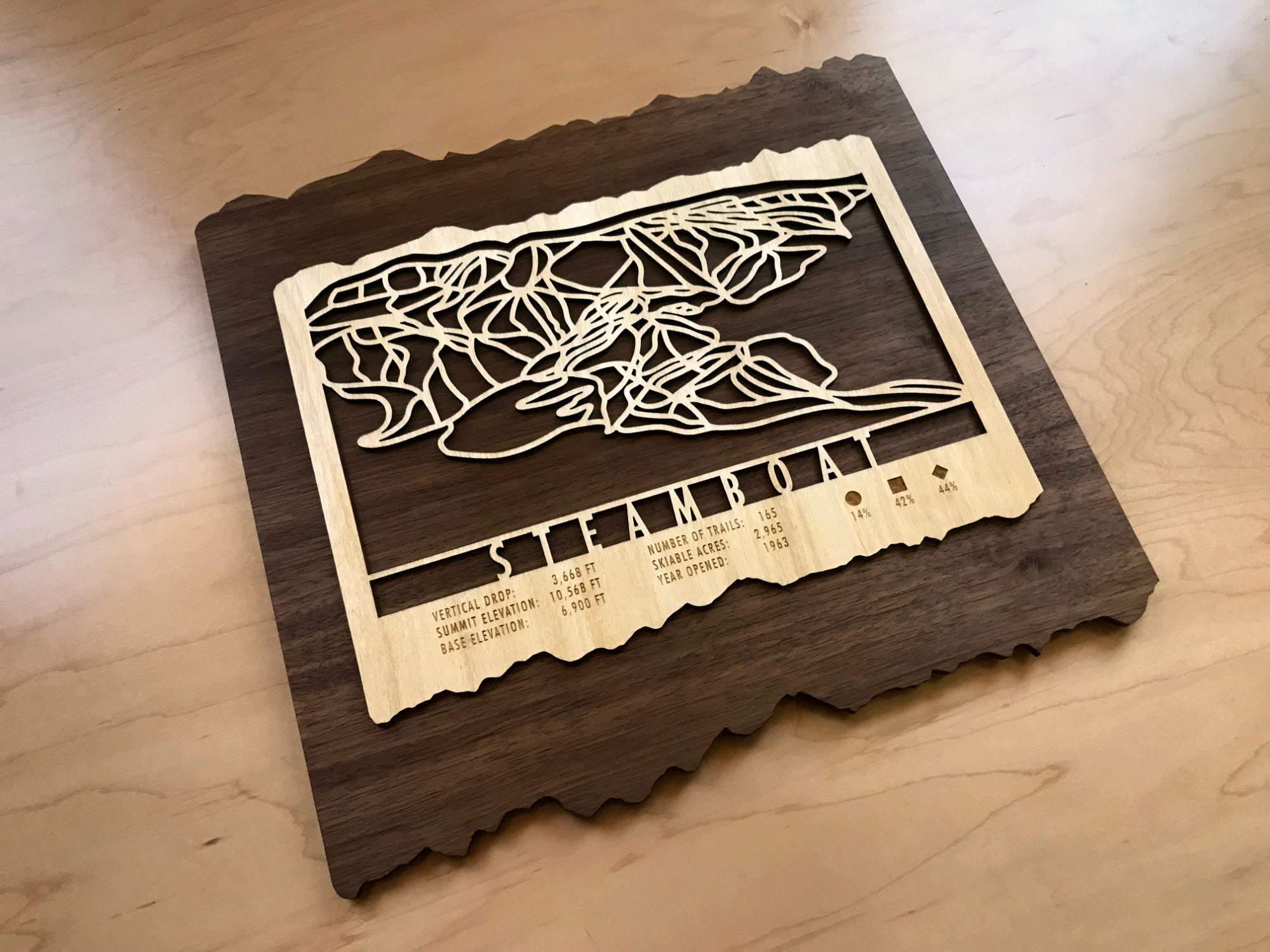 Steamboat Ski Decor Trail Map Art - MountainCut