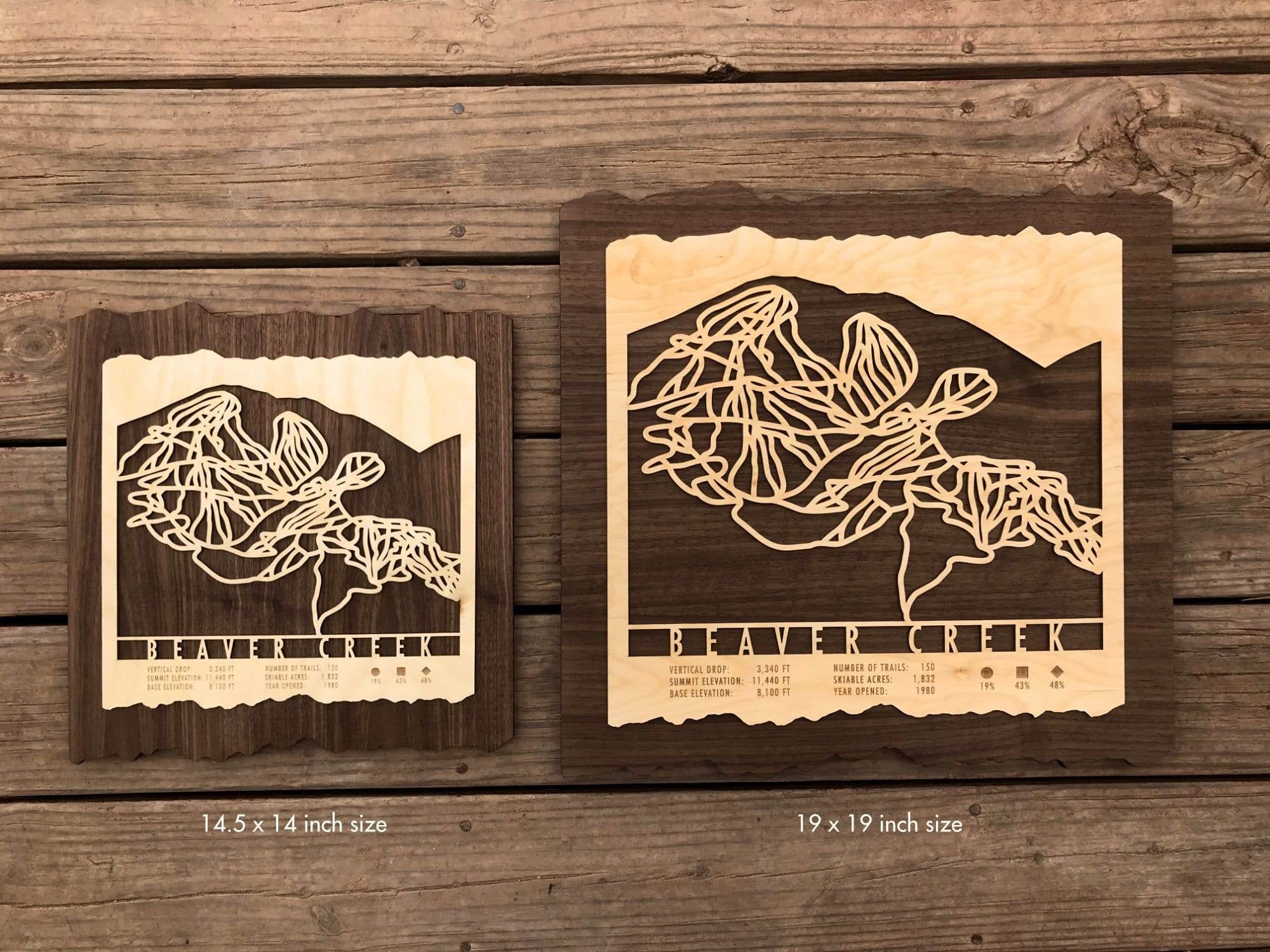 Mount Hood Meadows Ski Decor Trail Map Art - MountainCut