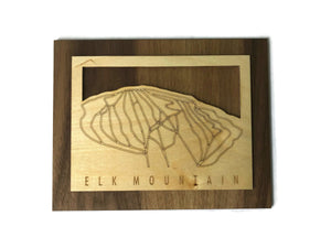 Elk Mountain Small Ski Decor Trail Map Art - MountainCut