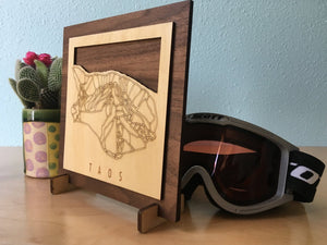 Taos Small Ski Decor Trail Map Art - MountainCut