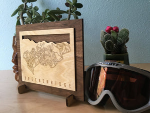 Breckenridge Small Ski Decor Trail Map Art - MountainCut