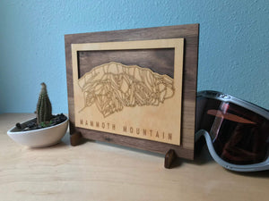 Mammoth Mountain Small Ski Decor Trail Map Art - MountainCut