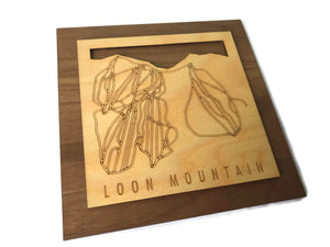 Loon Mountain Small Ski Decor Trail Map Art - MountainCut