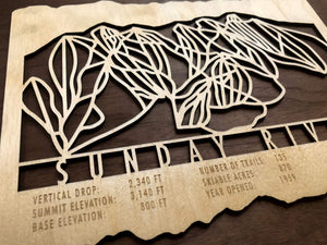Sunday River Ski Decor Trail Map Art - MountainCut
