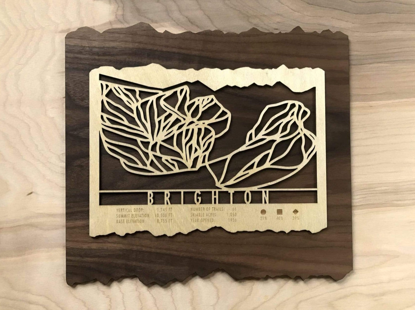 Brighton Ski Decor Trail Map Art - MountainCut