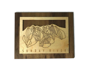 Sunday River Small Ski Decor Trail Map Art - MountainCut