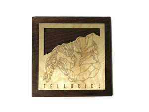 Telluride Small Ski Decor Trail Map Art - MountainCut