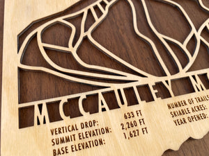McCauley Mountain Ski Decor Trail Map Art