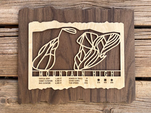 Mountain High Ski Decor Trail Map Art