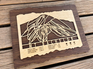Mount Bachelor Ski Decor Trail Map Art