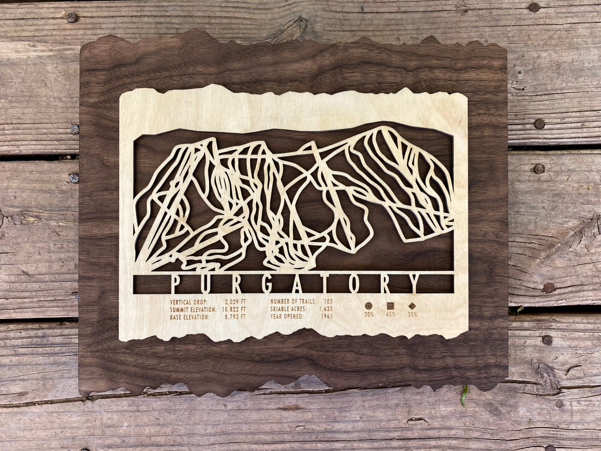 Purgatory Ski Decor Trail Map Art - MountainCut