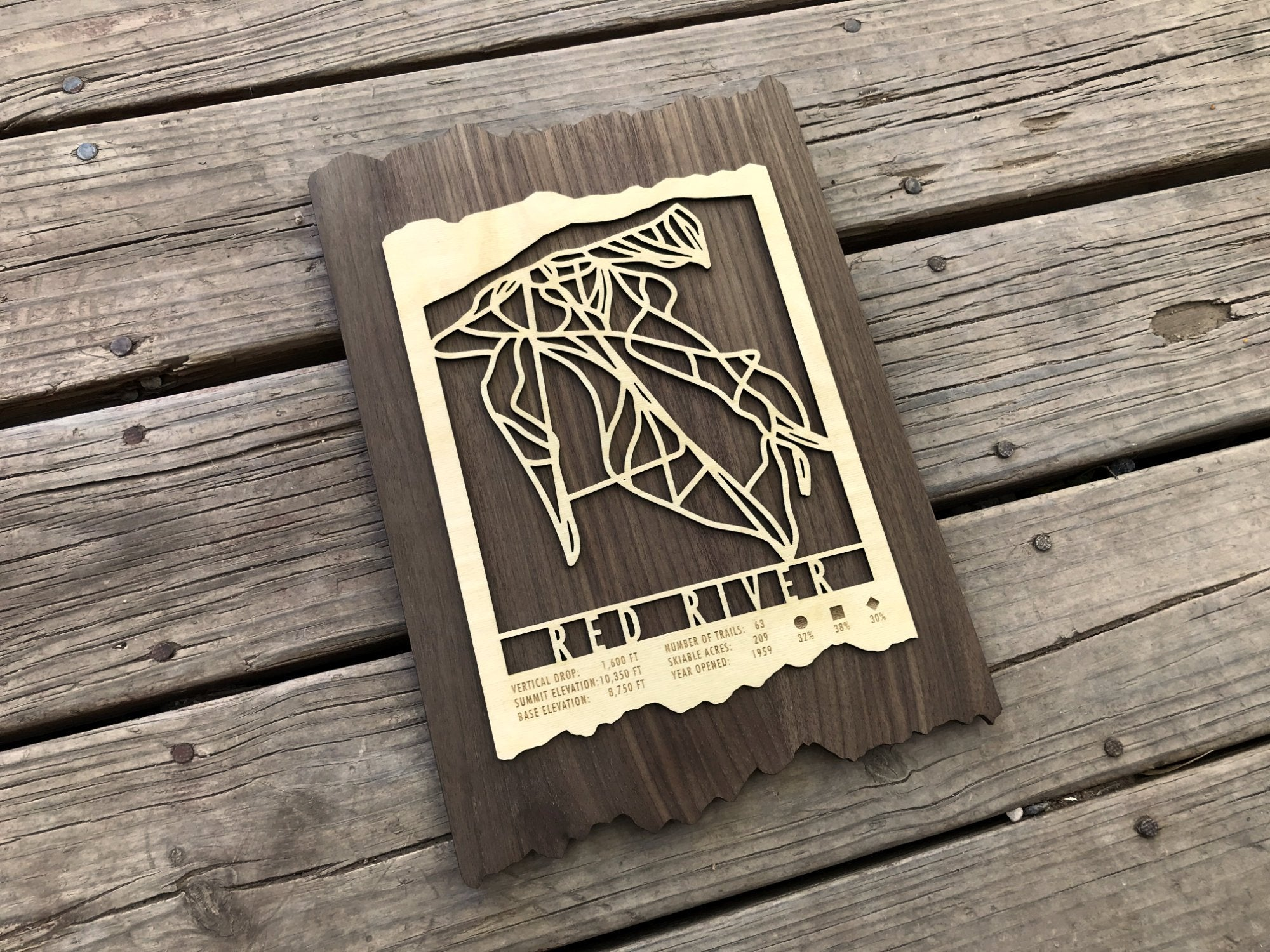 Red River Ski Decor Trail Map Art - MountainCut