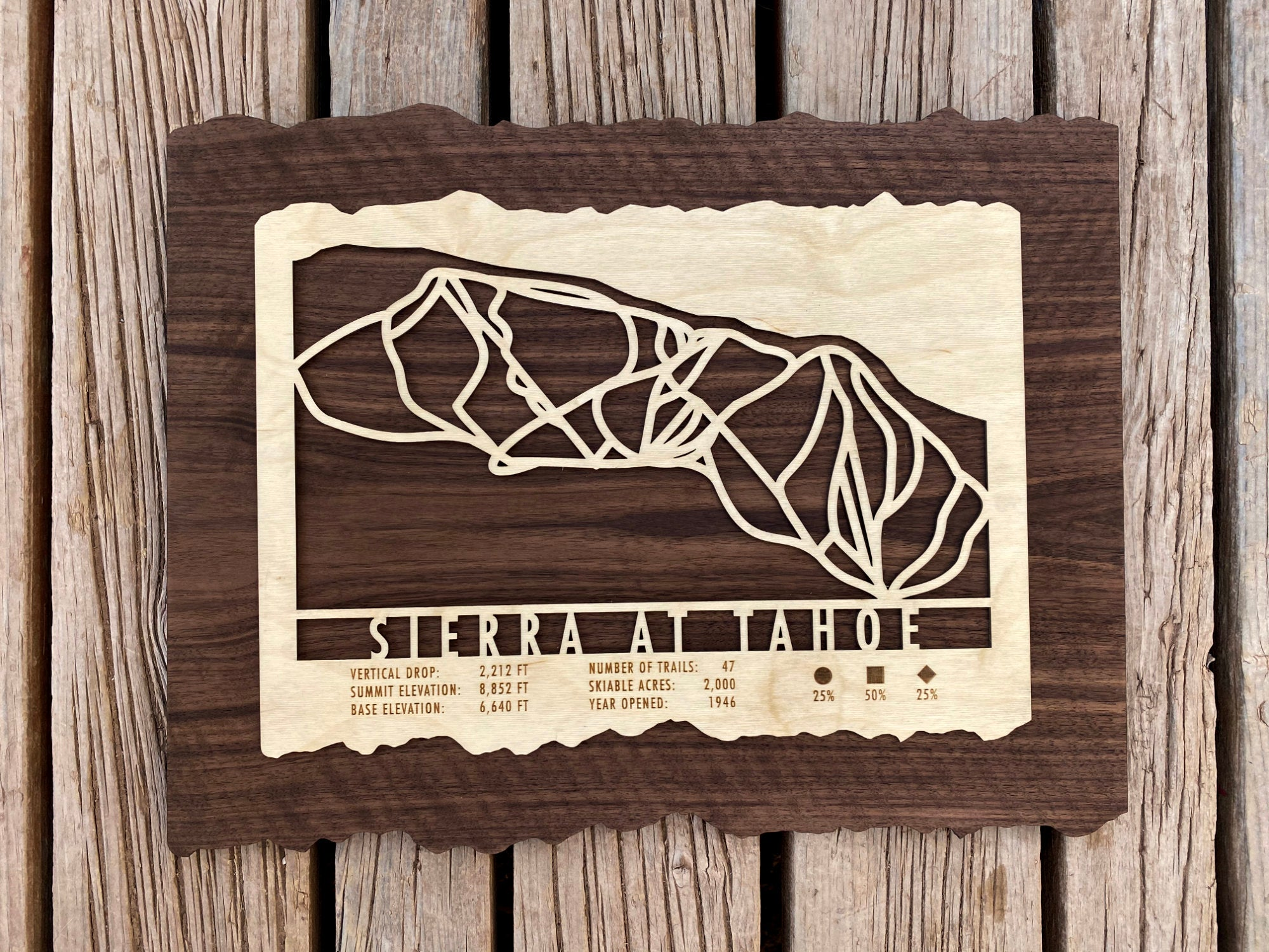 Sierra-at-Tahoe Ski Decor Trail Map Art