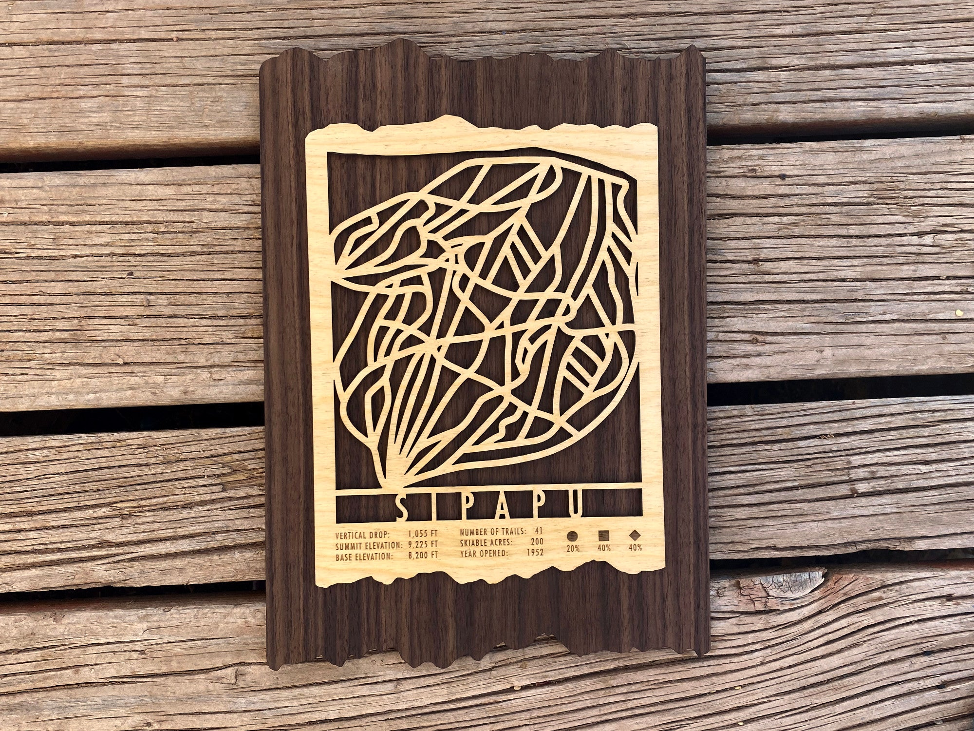 Sipapu Ski Decor Trail Map Art - MountainCut