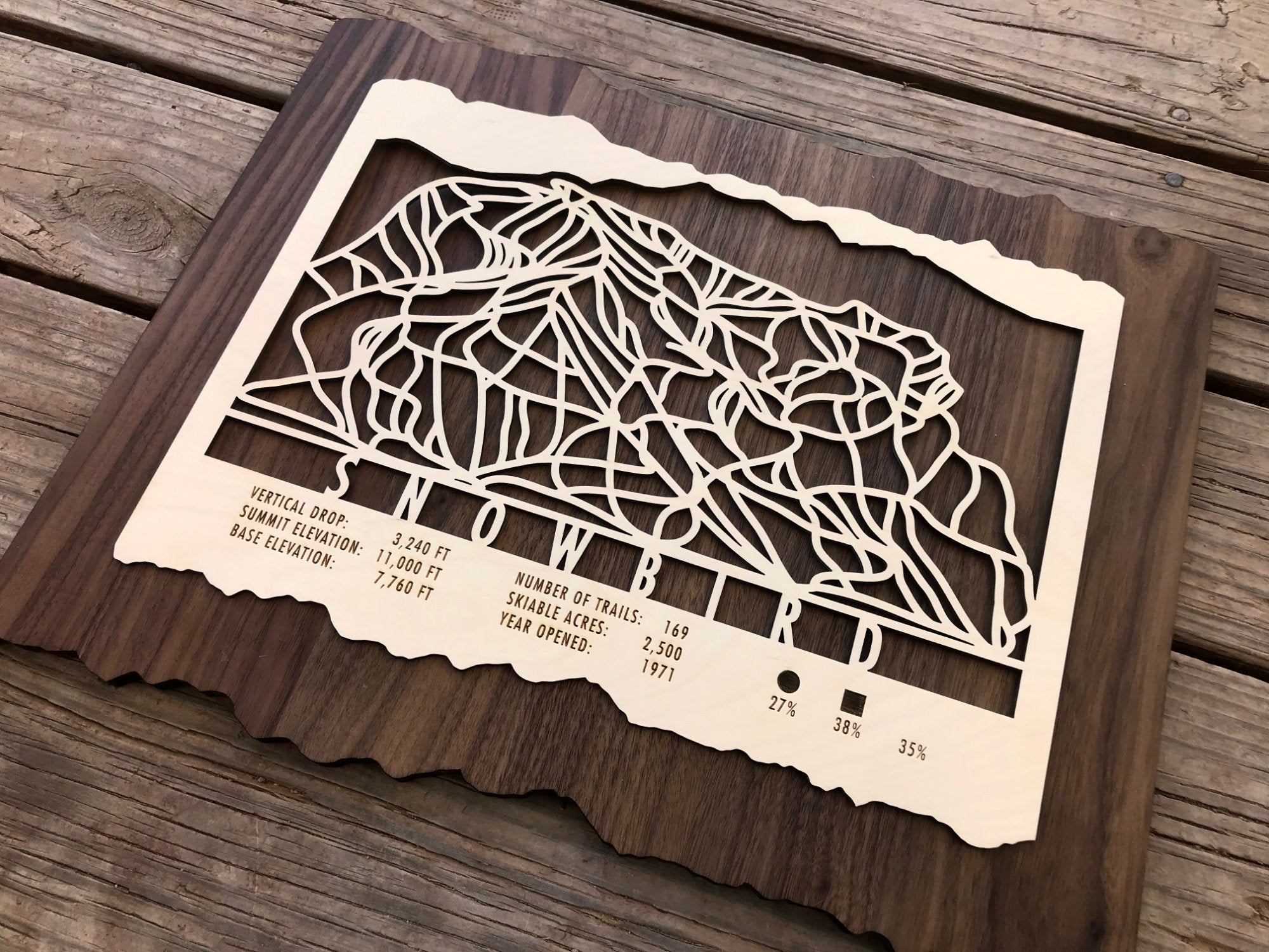 Snowbird Ski Decor Trail Map Art - MountainCut