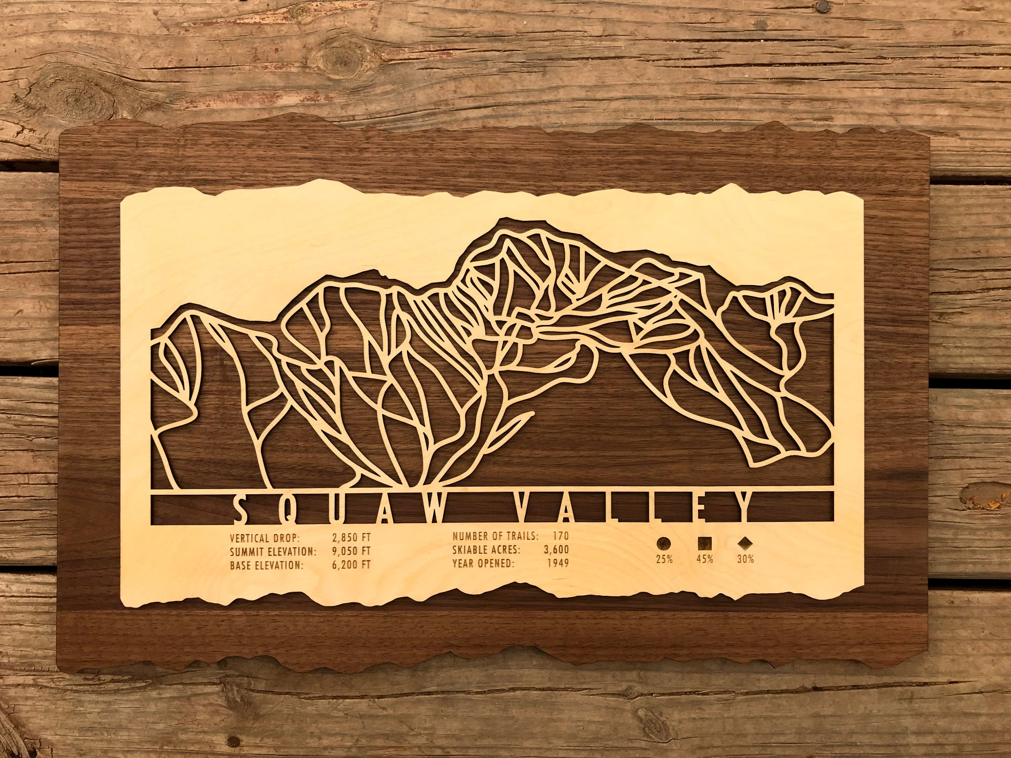 Squaw Valley Ski Decor Trail Map Art - MountainCut