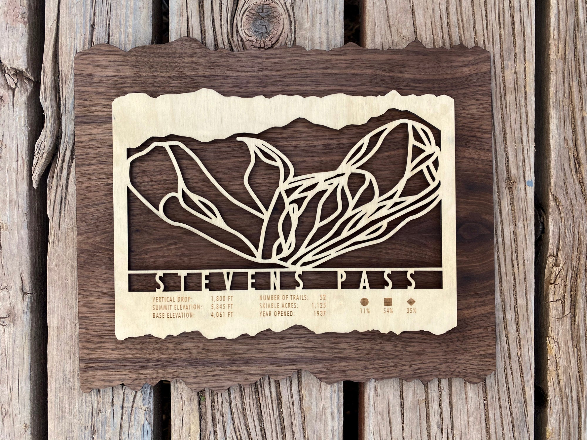 Stevens Pass Ski Decor Trail Map Art