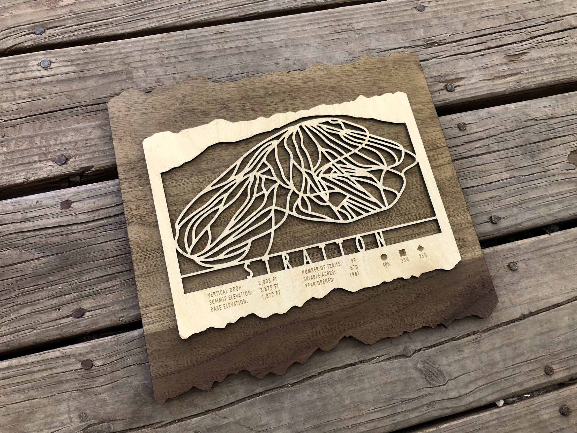 Stratton Ski Decor Trail Map Art - MountainCut