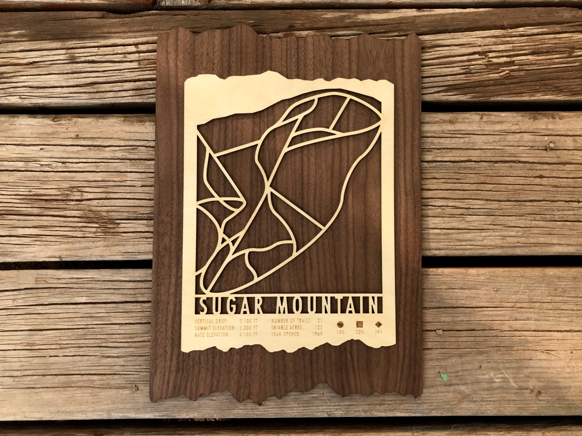 Sugar Mountain Ski Decor Trail Map Art - MountainCut
