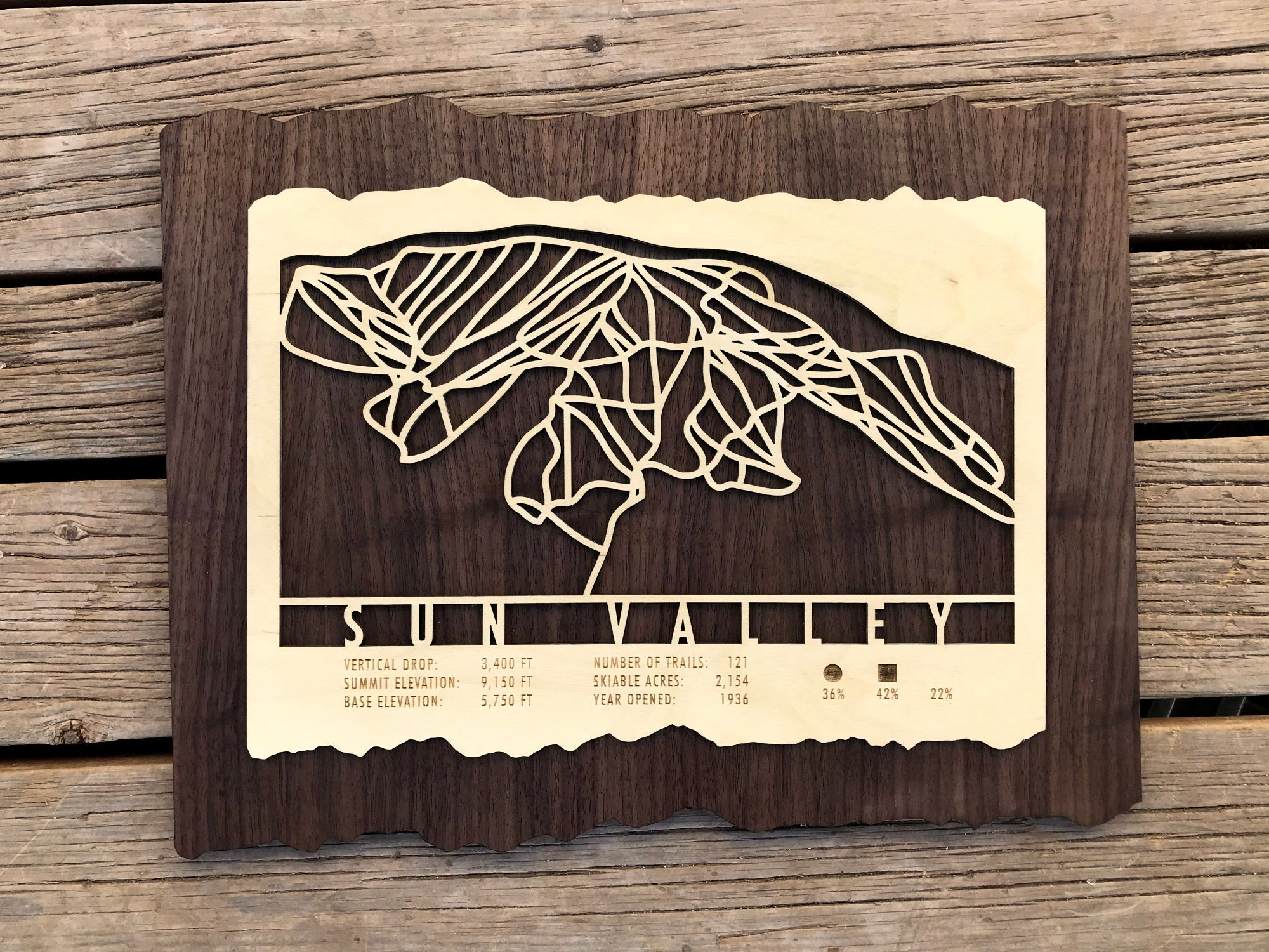 Sun Valley Ski Decor Trail Map Art - MountainCut