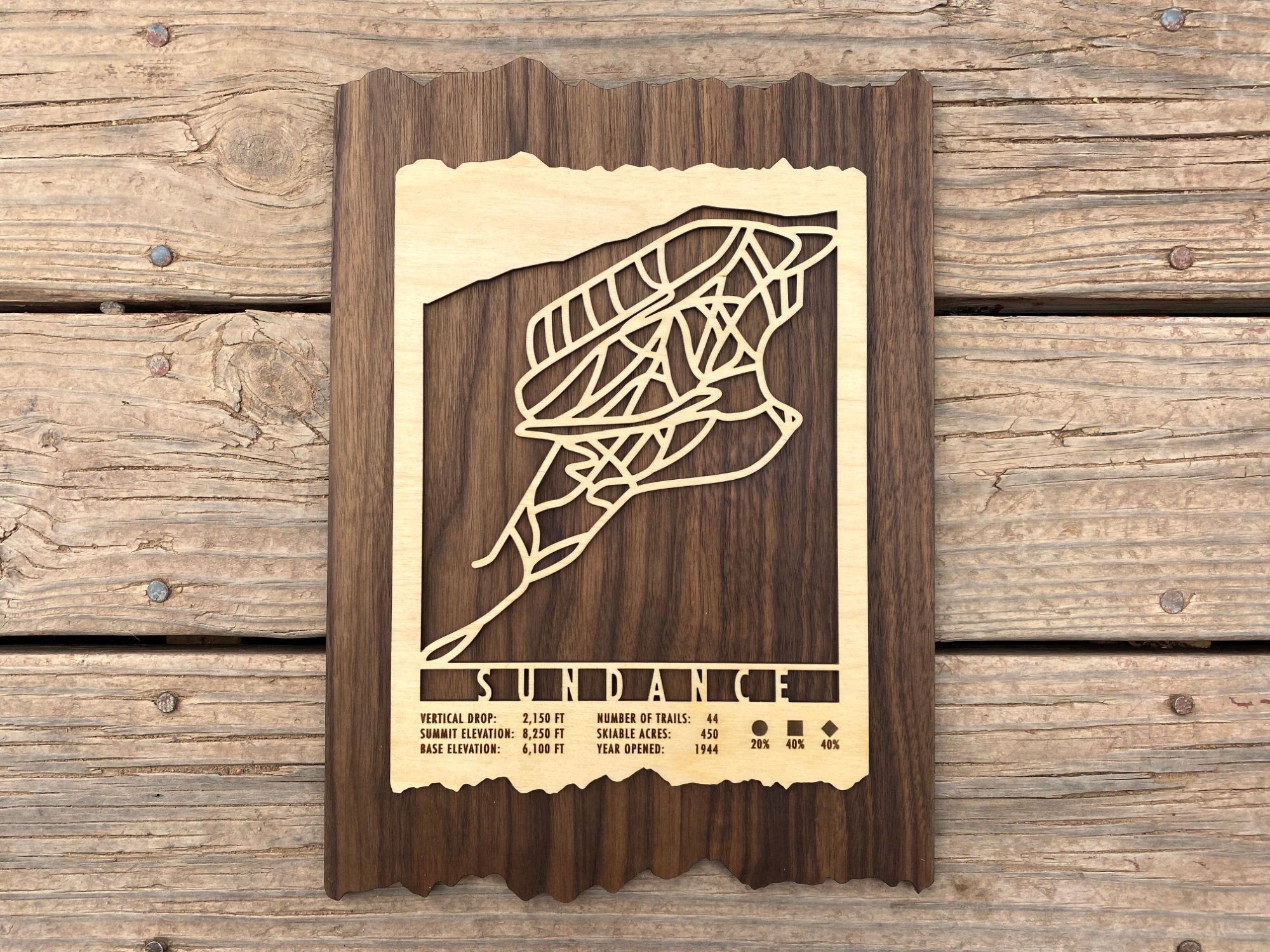 Sundance Ski Decor Trail Map Art