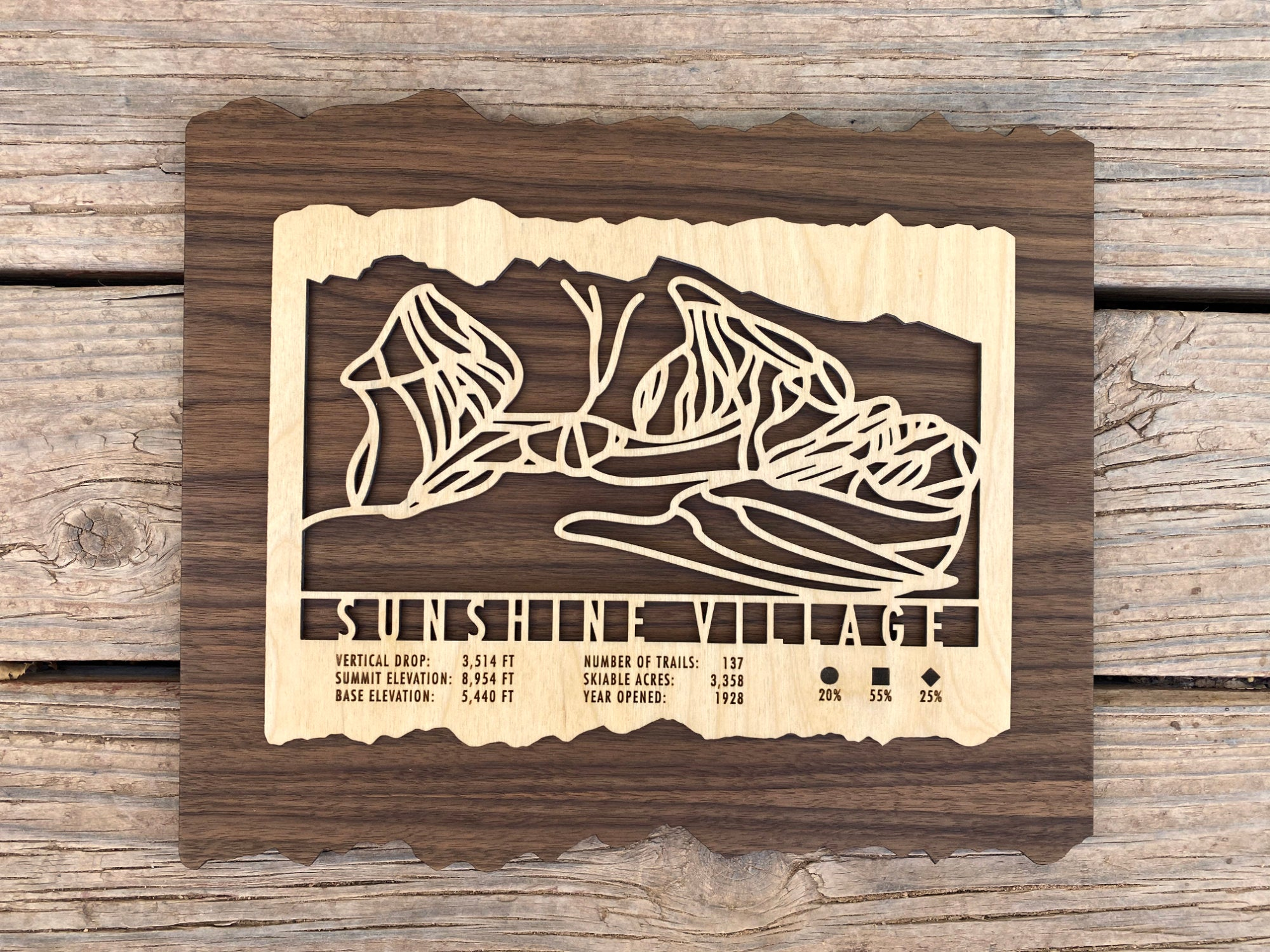 Sunshine Village Ski Decor Trail Map Art