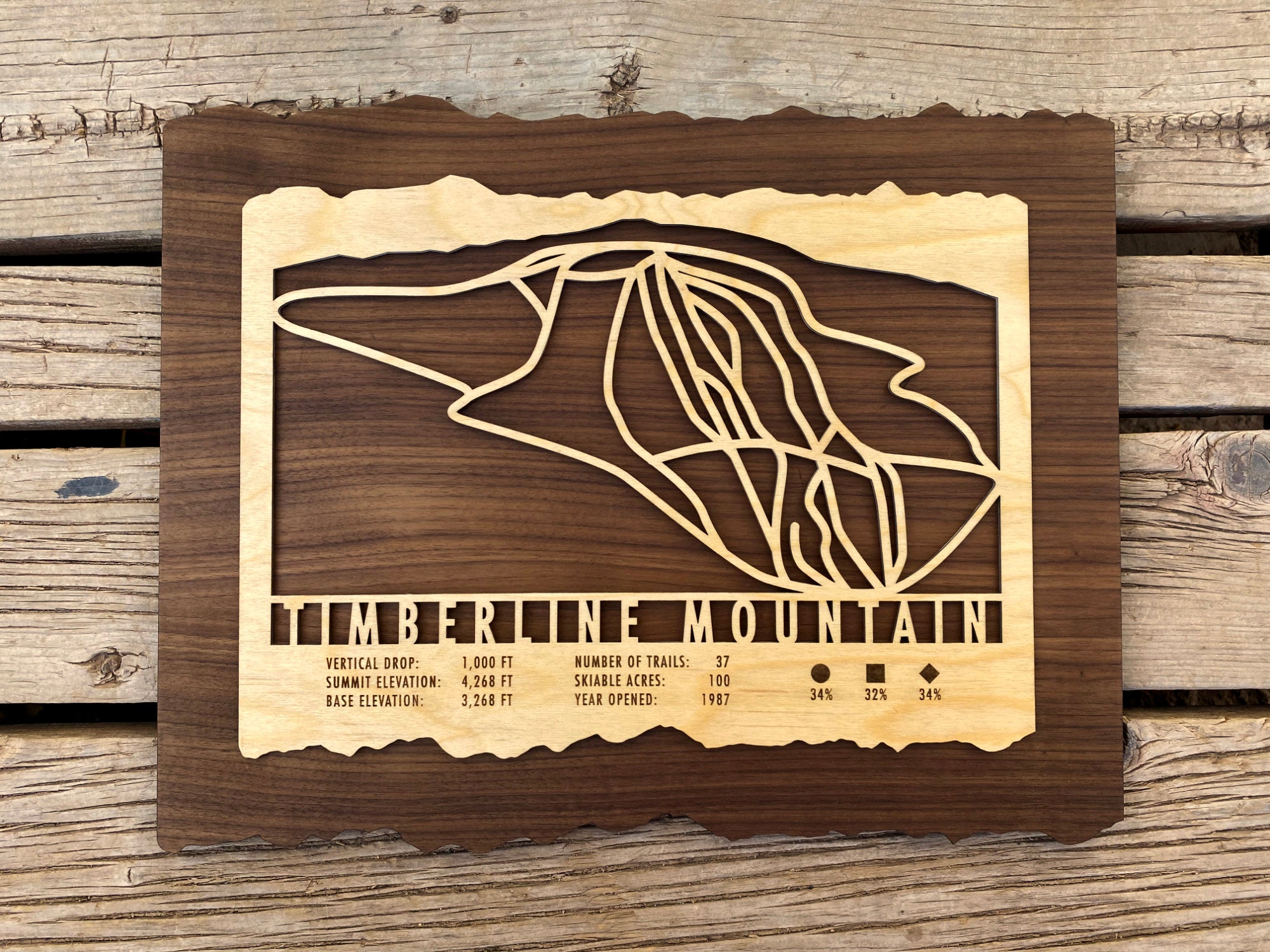 Timberline Mountain Ski Decor Trail Map Art