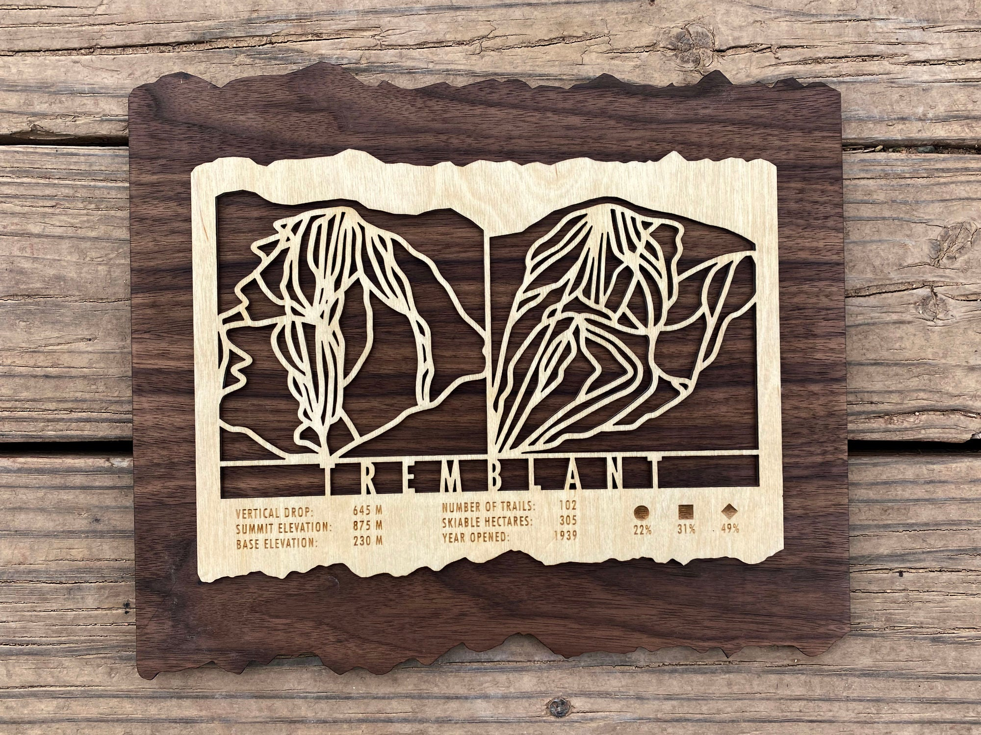 Tremblant Ski Decor Trail Map Art - MountainCut