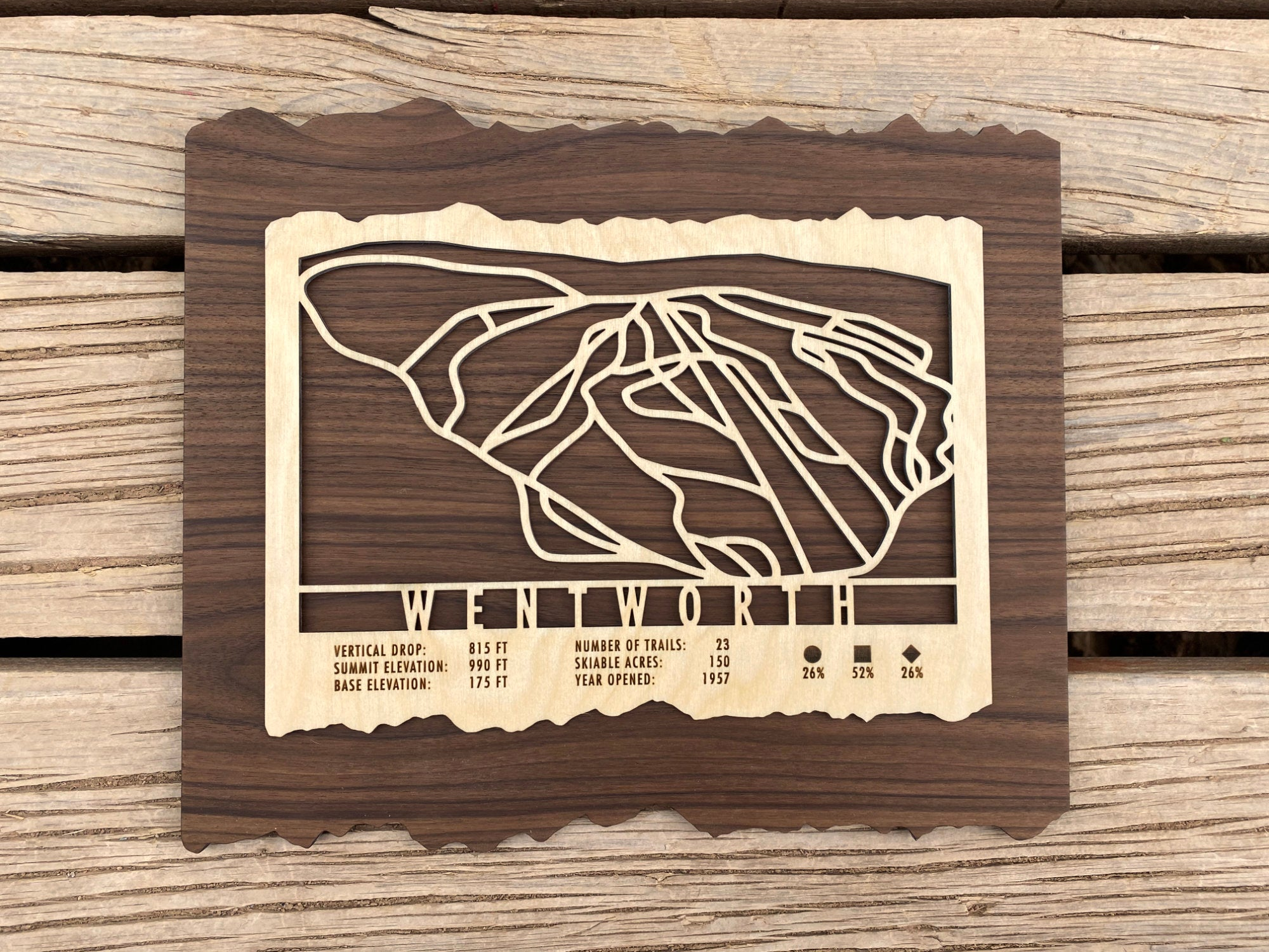 Wentworth Ski Decor Trail Map Art