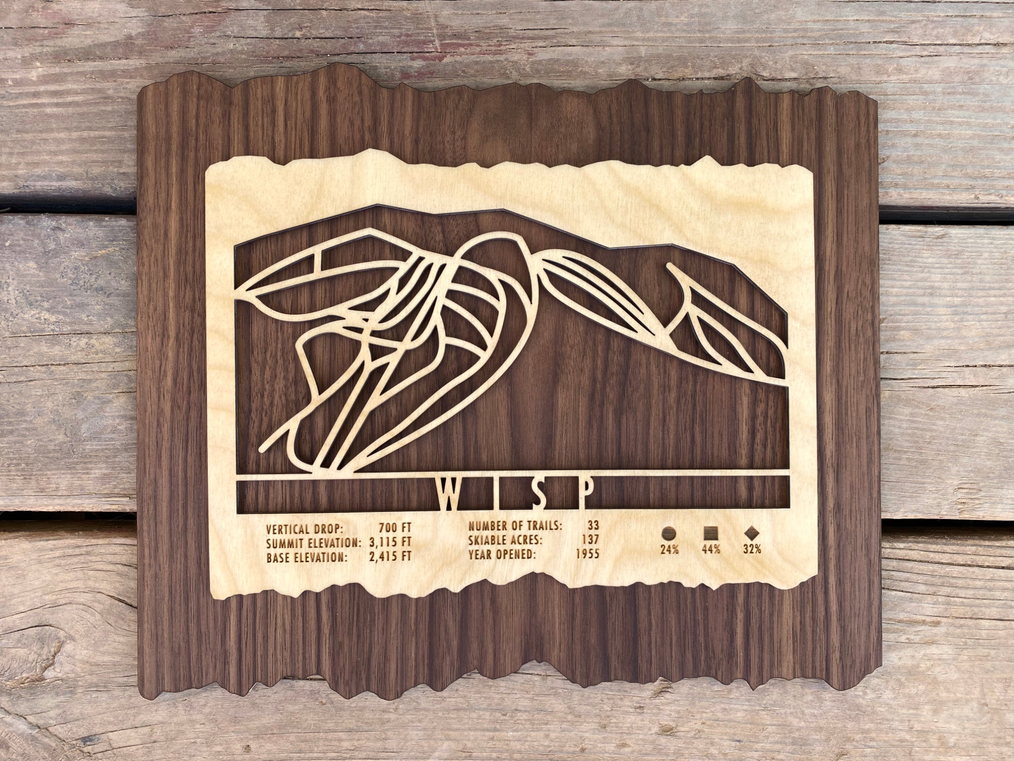 Wisp Ski Decor Trail Map Art