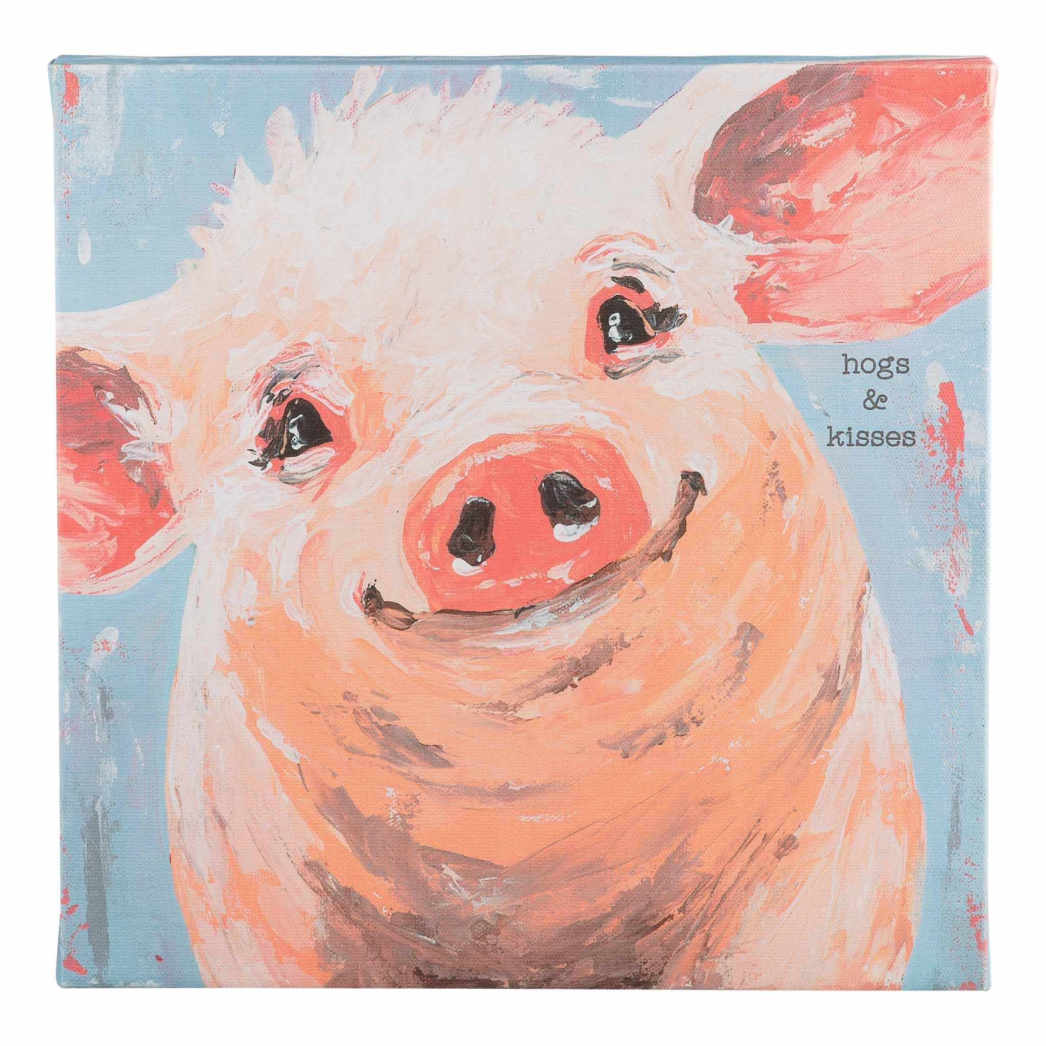 Hogs and Kisses Pig Canvas
