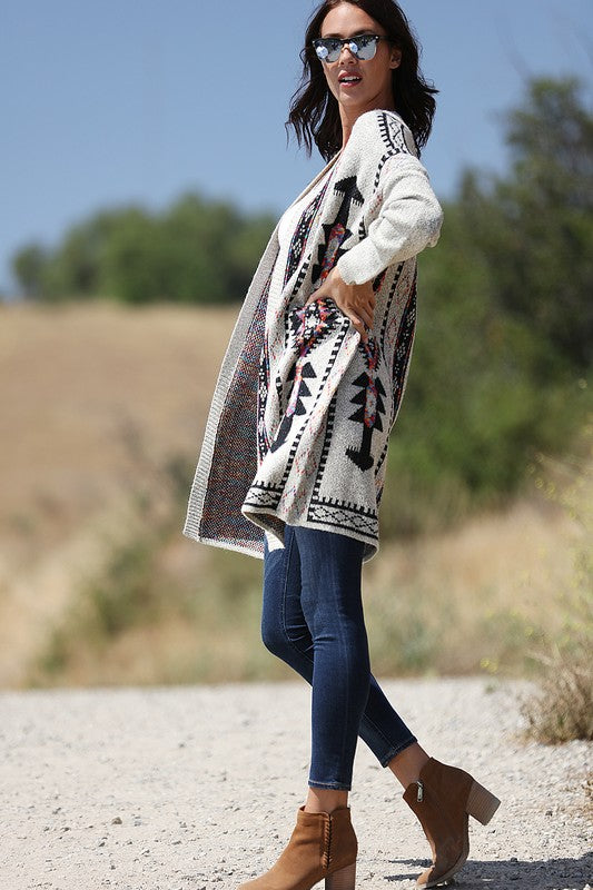 Multicolored Aztec Printed Cardigan