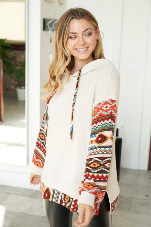 Waffle Knit Aztec Hoodie