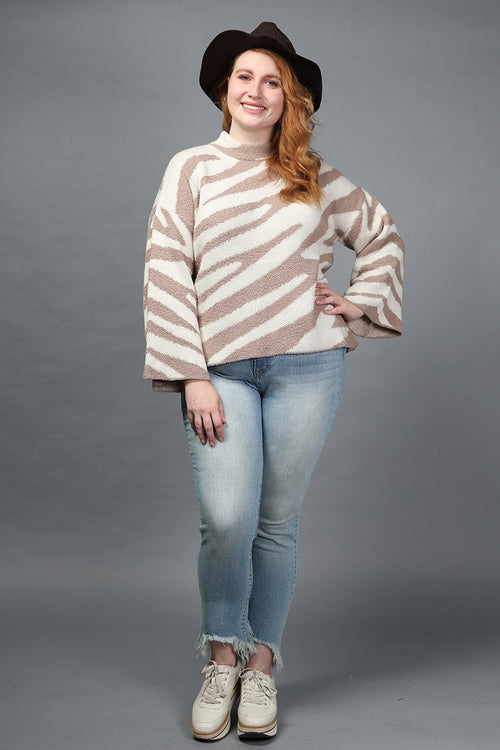 Zebra Mock Neck Sweater